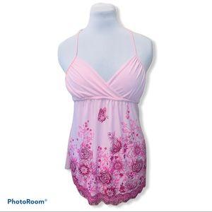 Body Central tie halter beaded gem pink blouse top